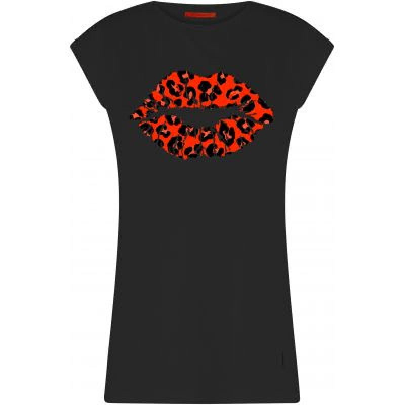 Coster Copenhagen T-shirt W. Leopard Lips Thunder Grey W. Ultra Lilac Leopard Kiss