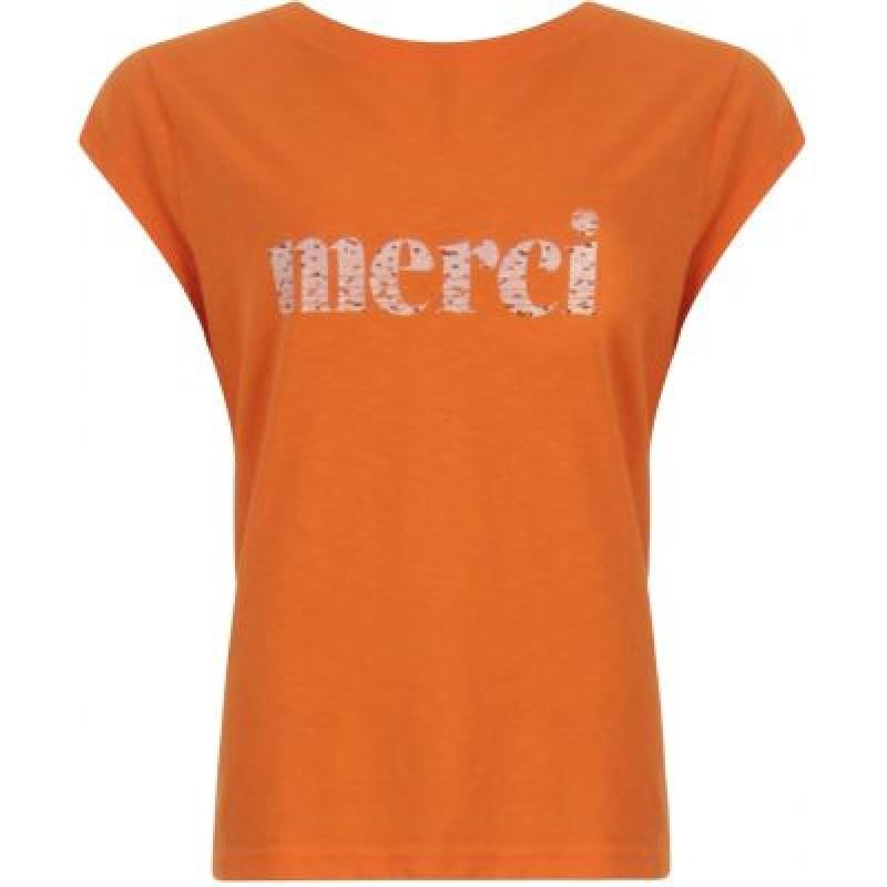 Coster Copenhagen T-shirt W. Merci Print Shocking Orange