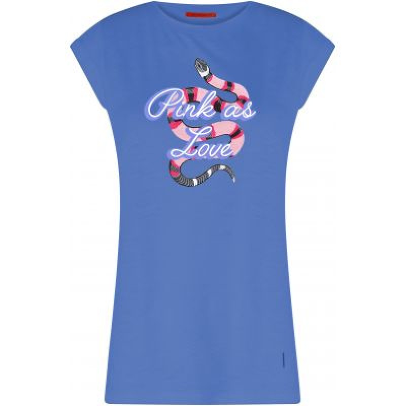 Coster Copenhagen T-shirt W. Snake Placement Print Sky Blue