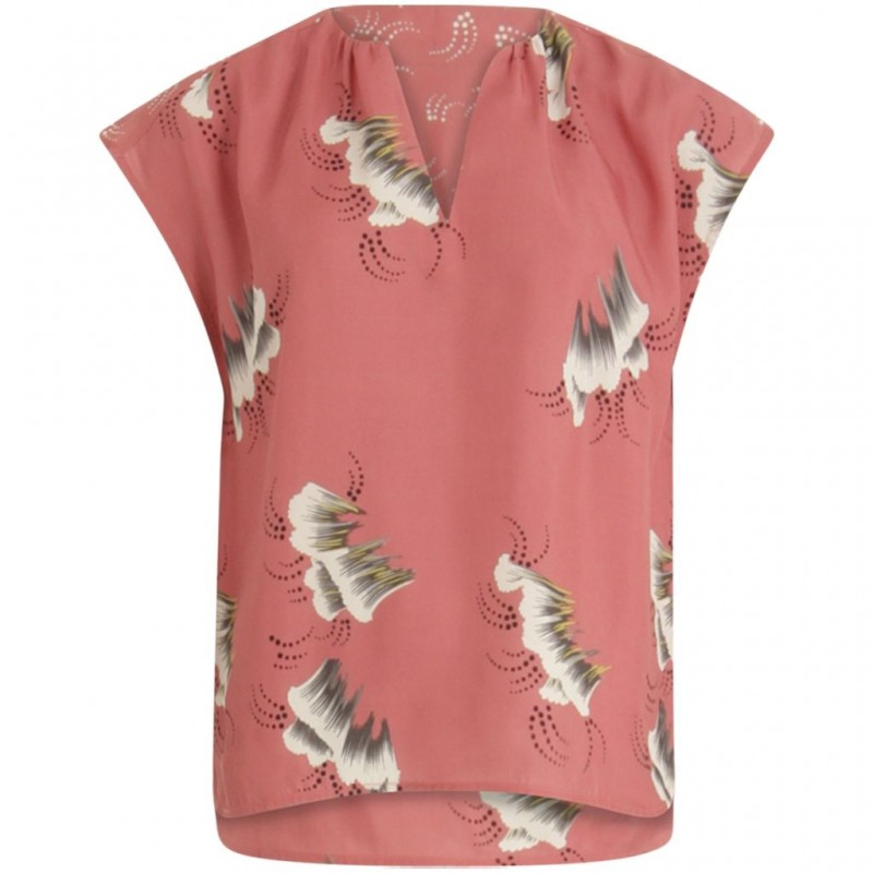 Coster Copenhagen Top In Sky Print W. V-neck And Stand Collar Canyon Rose
