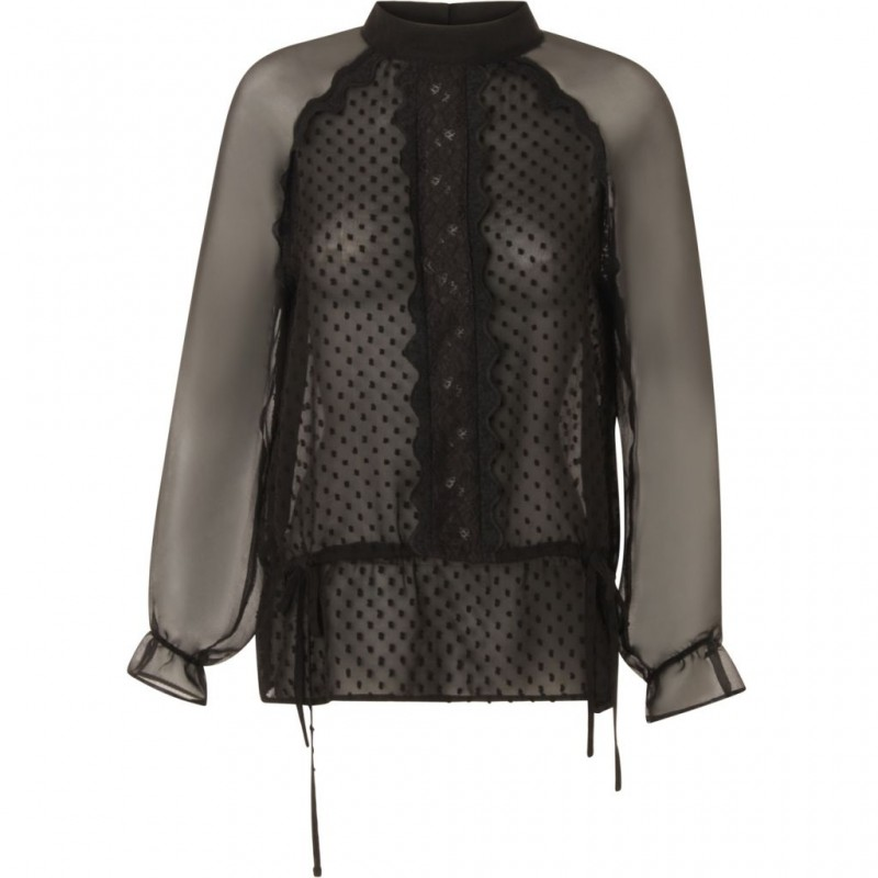Coster Copenhagen Top W. Dot Fabric And Lace