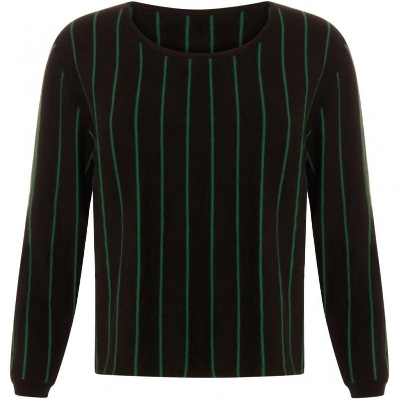 Coster Copenhagen Striped Knit Top Black / Grass Green Stripe