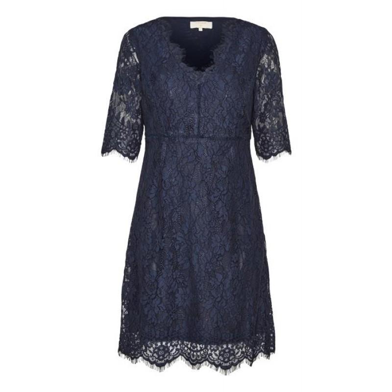 Cream Adriana Lace Dress Royal Navy Blue