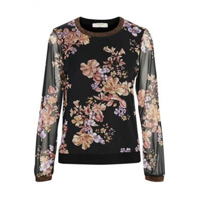 Cream Carrie Blouse Pitch Black