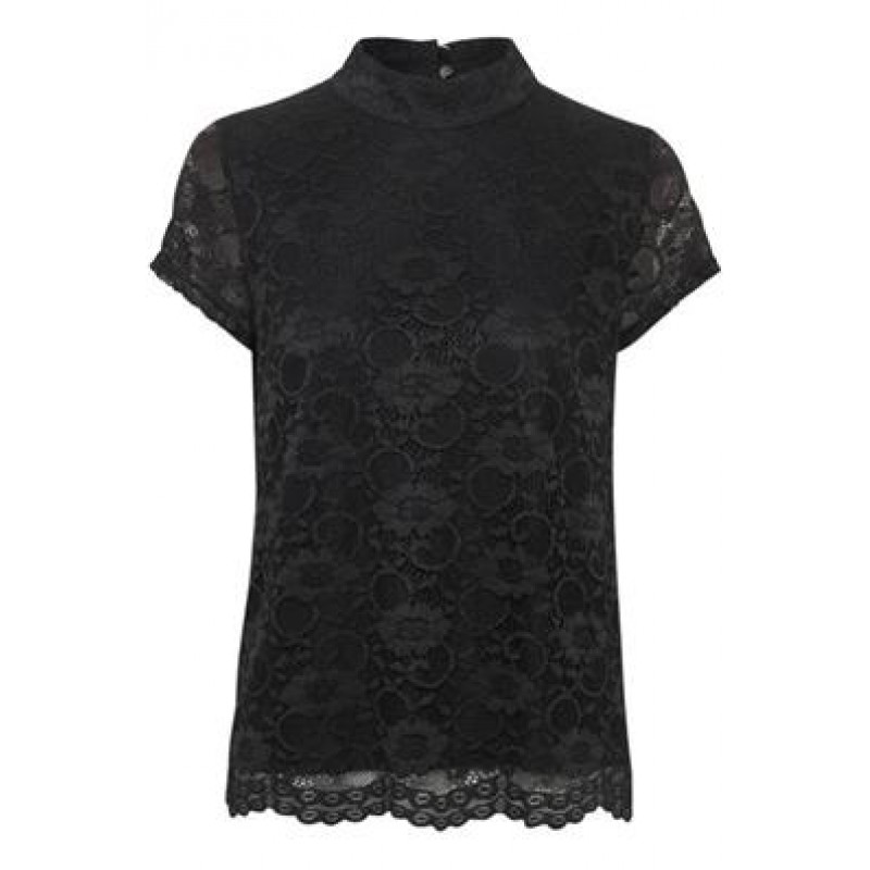 Cream Jennifer Short Sleeve Top Pitch Black