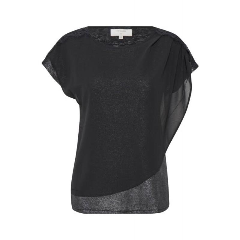 Cream Kenza T-shirt Pitch Black