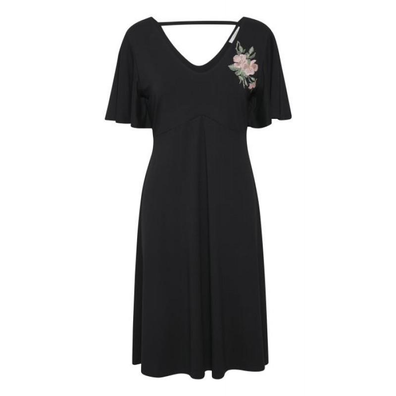 Cream Tenna Dress Pitch Black