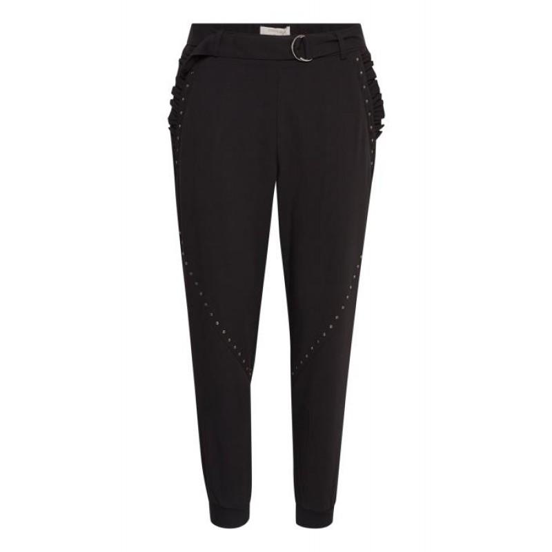 Cream Veronica Baggy Pants Pitch Black
