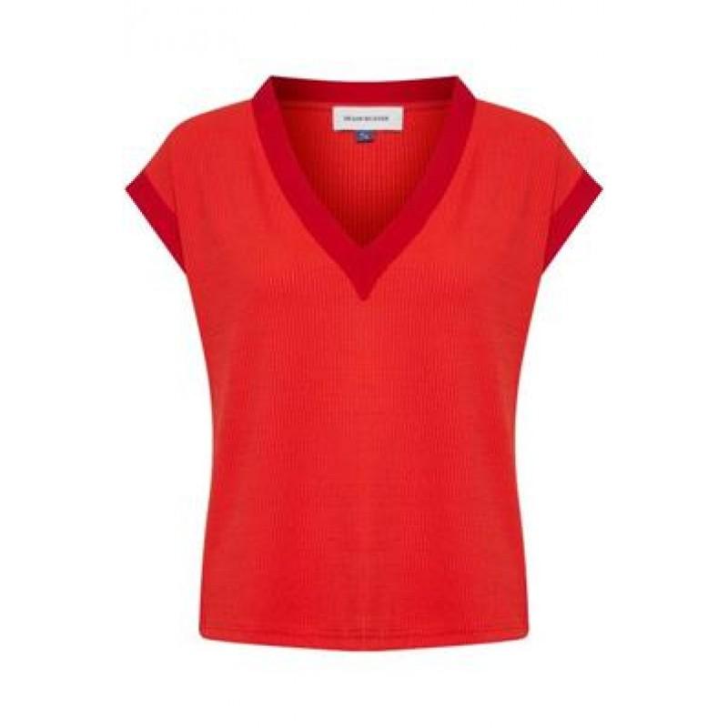 Denim Hunter DHFernanda Tee Rib Jersey Fiery Red