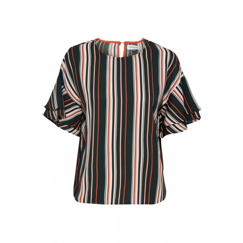 Denim Hunter Leighton Striped Blouse Bombay Brown Stripe