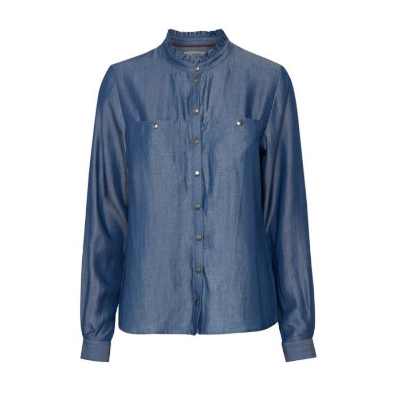 Denim Hunter Sebba Shirt Silver Grey Coated