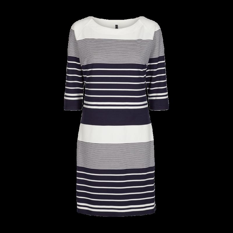 Freequent Dane Dress Stripe Off White W. Navy Blazer