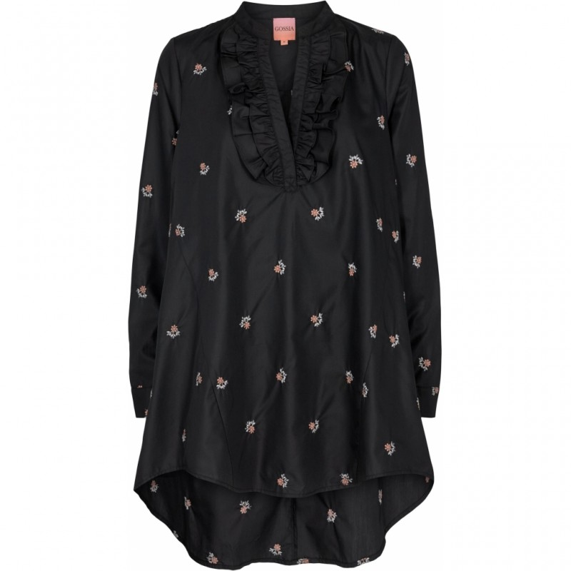 Gossia Juliana Tunica Dress Black W. Flowers