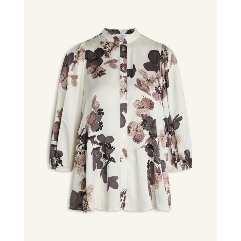 Love & Divine Shirt Cream/Brown Flower