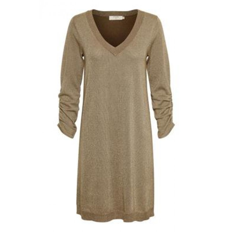 Cream Serena Knit Dress Brown Gold