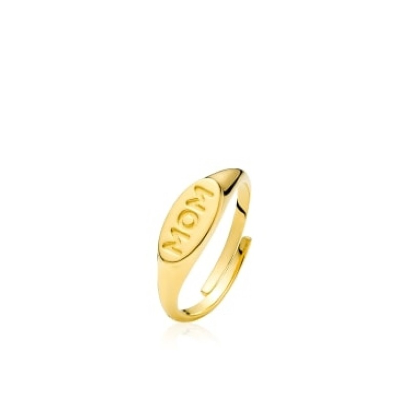 """Sistie Fam """"MOM"""" Ring Gold Pl. Silver"""