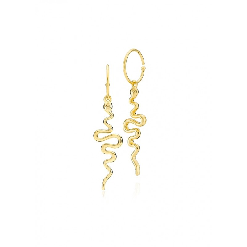 Sistie Young One Snake Earing Gold Pl. Silver