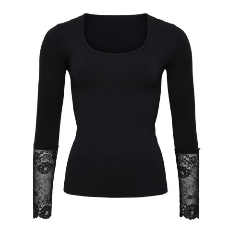 Tim & Simonsen Long Sleeve Lace Top Black