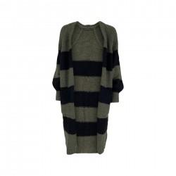 Black Colour Fabiola Long Knit Cardigan Army/Black