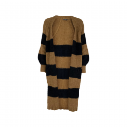 Black Colour Fabiola Long Knit Cardigan Camel / Black