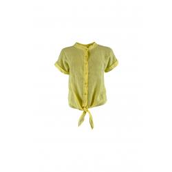 Black Colour Fie Short Sleeved Linen Shirt Pastel Yellow