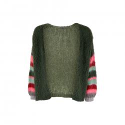 Black Colour Hera Brushed Knit Cardigan Army
