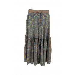 Black Colour Luna Boho Midi Skirt Blue Breeze