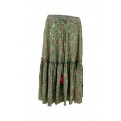 Black Colour Luna Boho Midi Skirt Green Breeze