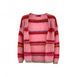 Black Colour Tailor Brushed Cardigan Candy Pink One Size