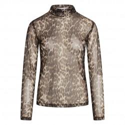 Co'couture Nabia Animal Mesh Turtleneck Mocca