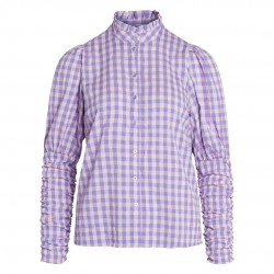 Co'couture Cadie Check Puff Shirt Purple