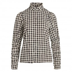 Co'couture Cadie Check Puff Shirt Black