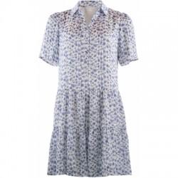 Continue Cph Annika Dress W. Flowerprint and Lurex Blue/White