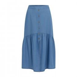 Coster Copenhagen Soft Denim Skirt With Gatherings Light Denim Blue