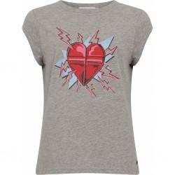 Coster Copenhagen T-shirt W. Heart Print Light Grey