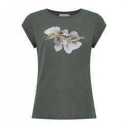 Coster Copenhagen T-shirt With Abstract Flower Print Moss Green