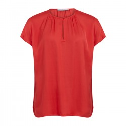 Coster Copenhagen Top With Shortsleeves And Gatherings Poppy Red