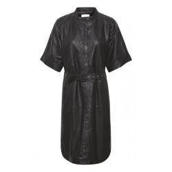 My Essential Wardrobe Bally Leather Oversize Dress Black